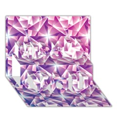 Purple Shatter Geometric Pattern Miss You 3d Greeting Card (7x5)