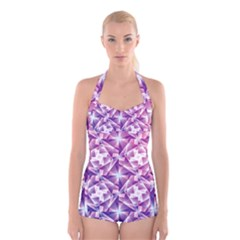Purple Shatter Geometric Pattern Boyleg Halter Swimsuit