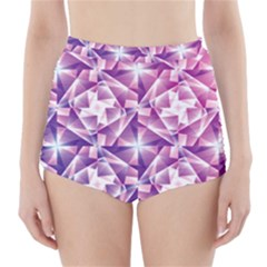 Purple Shatter Geometric Pattern High Waisted Bikini Bottoms