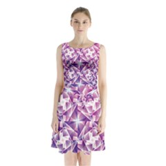 Purple Shatter Geometric Pattern Sleeveless Waist Tie Dress