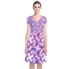 Purple Shatter Geometric Pattern Short Sleeve Front Wrap Dress