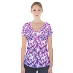 Purple Shatter Geometric Pattern Short Sleeve Front Detail Top