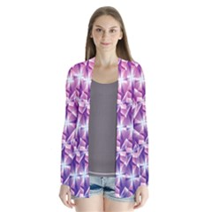 Purple Shatter Geometric Pattern Drape Collar Cardigan