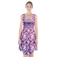 Purple Shatter Geometric Pattern Racerback Midi Dress