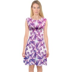 Purple Shatter Geometric Pattern Capsleeve Midi Dress