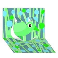 Green bird Heart 3D Greeting Card (7x5)