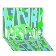 Green bird HOPE 3D Greeting Card (7x5)