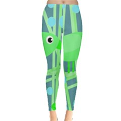Green bird Leggings