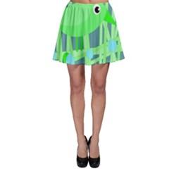 Green bird Skater Skirt