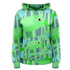 Green bird Women s Pullover Hoodie