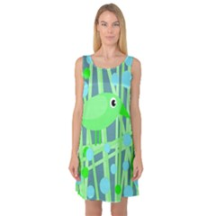 Green bird Sleeveless Satin Nightdress