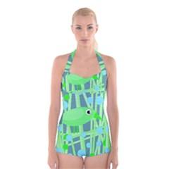 Green bird Boyleg Halter Swimsuit