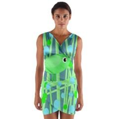 Green bird Wrap Front Bodycon Dress