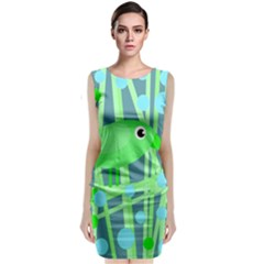 Green bird Classic Sleeveless Midi Dress