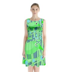 Green bird Sleeveless Waist Tie Dress