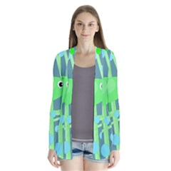 Green bird Drape Collar Cardigan