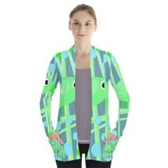 Green Bird Women s Open Front Pockets Cardigan(p194)
