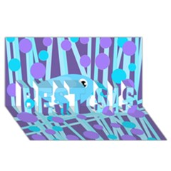Blue and purple bird BEST SIS 3D Greeting Card (8x4)
