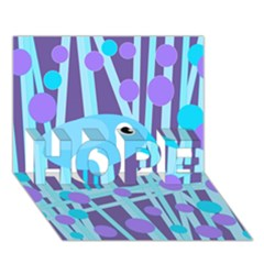 Blue and purple bird HOPE 3D Greeting Card (7x5)