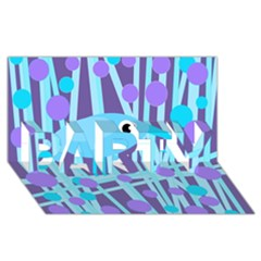 Blue and purple bird PARTY 3D Greeting Card (8x4)