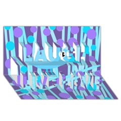Blue and purple bird Laugh Live Love 3D Greeting Card (8x4)