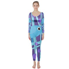 Blue and purple bird Long Sleeve Catsuit