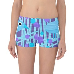 Blue and purple bird Reversible Boyleg Bikini Bottoms