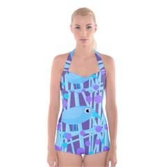 Blue and purple bird Boyleg Halter Swimsuit