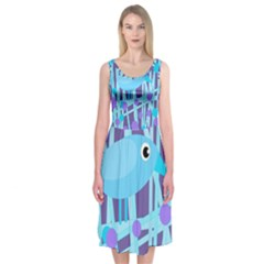 Blue and purple bird Midi Sleeveless Dress