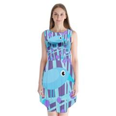 Blue And Purple Bird Sleeveless Chiffon Dress