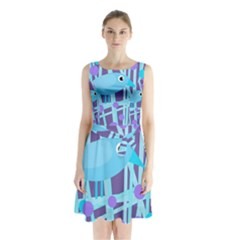 Blue and purple bird Sleeveless Waist Tie Dress