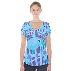 Blue and purple bird Short Sleeve Front Detail Top