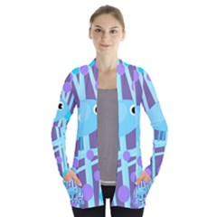 Blue and purple bird Women s Open Front Pockets Cardigan(P194)