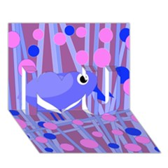Purple and blue bird I Love You 3D Greeting Card (7x5)