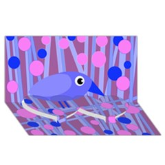 Purple and blue bird Twin Heart Bottom 3D Greeting Card (8x4)