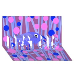 Purple and blue bird BEST SIS 3D Greeting Card (8x4)