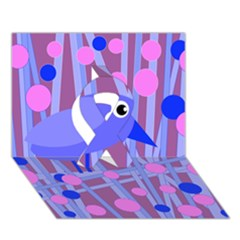 Purple and blue bird Ribbon 3D Greeting Card (7x5)