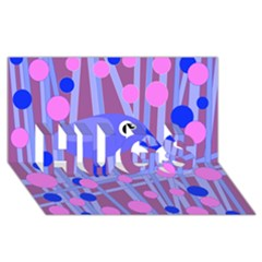 Purple and blue bird HUGS 3D Greeting Card (8x4)