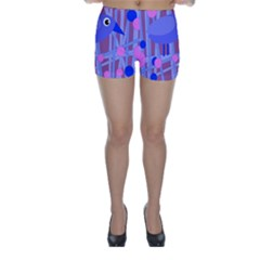 Purple and blue bird Skinny Shorts