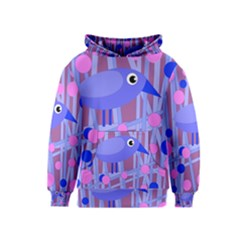 Purple and blue bird Kids  Pullover Hoodie