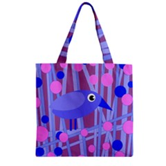 Purple and blue bird Zipper Grocery Tote Bag