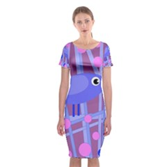 Purple And Blue Bird Classic Short Sleeve Midi Dress