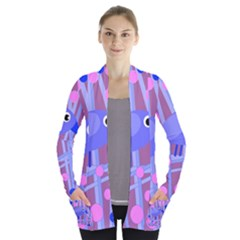 Purple and blue bird Women s Open Front Pockets Cardigan(P194)