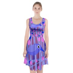 Purple and blue bird Racerback Midi Dress