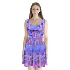 Purple And Blue Bird Split Back Mini Dress