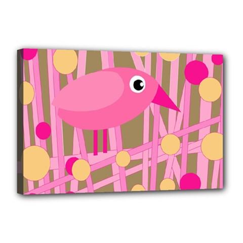 Pink bird Canvas 18  x 12