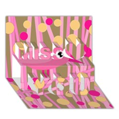 Pink bird Miss You 3D Greeting Card (7x5)