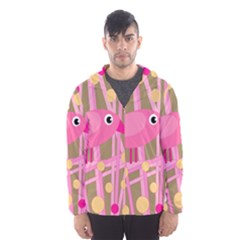 Pink bird Hooded Wind Breaker (Men)