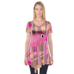 Pink Bird Short Sleeve Tunic