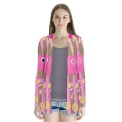 Pink bird Drape Collar Cardigan